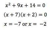 Quadratic equation example 2